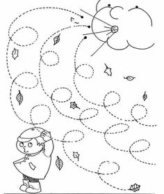 Fall Windy Day line worksheet for kids - Curly lines Mehr Preschool Weather, Weather Crafts, Fall Preschool, Weather Activities, Preschool Lessons, Autumn Activities, Preschool Crafts, Kids Crafts, Preschool Worksheets