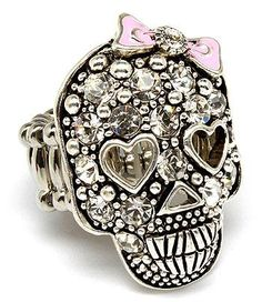 Cute crystal skull with bow ring