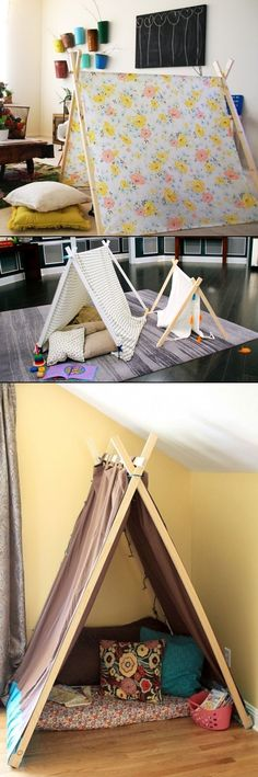 DIY Play Tent For Kids Use this idea to make a tent for the boys to set up and make their tent play Kids Crafts, Diy And Crafts, Diy Interior, Diy For Kids, Kids Playing, Playroom, Activities For Kids, Kids Room, Grandkids