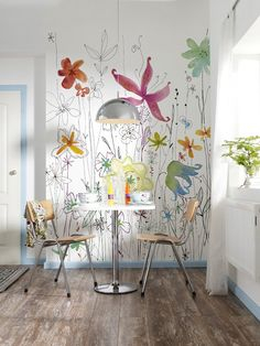 The Joli wall mural has a happy aura. A colorful and whimsical floral creates an energetic scene creating a room filled with warmth and cheer. - x - 2 Panel Mural - Paste Not Included - Printed on Non Woven Material Diy Wand, Diy Wall Painting, Painting Murals On Walls, Painted Wall Murals, Wall Murals Uk, Wall Art, Home And Deco, Mural Art, Photo Wallpaper