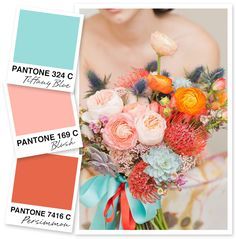 Tiffany Blue, Blush and Persimmon Color Palette