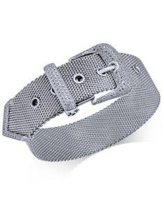 Diamond Buckle Bracelet (1-1/4 ct. t.w.) in Sterling Silver | macys.com