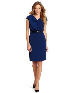 Anne Klein Women`s Two Tone Mixed Media Dolman Dress $98.93