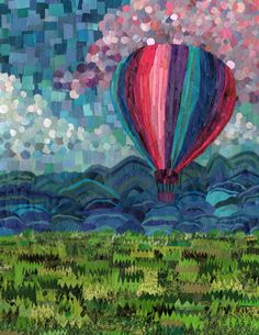 come take a ride in this beautiful hot air balloon!    This collage mosaic is made from hand cut pieces of recycled magazine.    beautiful 8x10 print with lustre finish