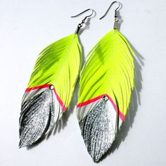 Bowie - Neon Yellow and Silver Glitter with Swarovski Crystal - Faux Leather Feather Earrings - Surgical Steel