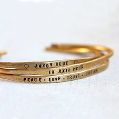 These personalized bracelets come in sterling silver, brass, solid yellow gold or mix and match. Each custom bracelet has been hand hammered and hand stamped to create custom b Brass Cuff, Sterling Silver Cuff, Cuff Bracelets, Bangles, Do It Yourself Jewelry, Personalized Bracelets, Key Pendant, Messing, Jewelry Accessories