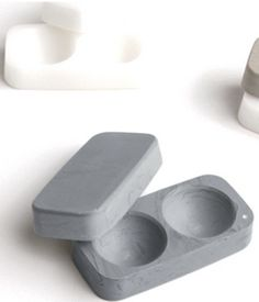 Contact lens case carved from stone
