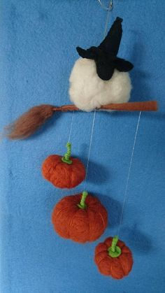 5306680f6834e Items similar to Spooky little Witch Sheep on a magic broom and Pumpkin  Halloween hanging decoration on Etsy