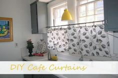 DIY Cafe Curtains to hide a window AC unit, from The Restarter Home.