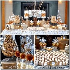 silver, gold, slate gray wedding ideas   candy dessert buffet designed by Sweet Event Design  www.sweeteventdesign.com  custom candy designs     silver, gold, gray theme   candy bar dessert buffet ideas & inspiration