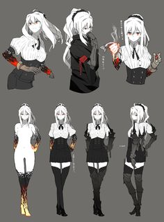 boots burning_hand character_sheet clothes_removed dress gauntlets hand_on_hip high_heel_boots high_heels highres jacket kantai_collection long_hair looking_at_viewer looking_back original pleated_dress ponytail pose red_eyes […] Character Sheet, Character Concept, Character Art, Concept Art, Female Character Design, Character Design References, Character Design Inspiration, Fantasy Characters, Female Characters