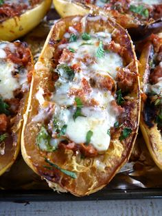 Sausage & Spinach Spaghetti Squash Boats - the preppy paleo