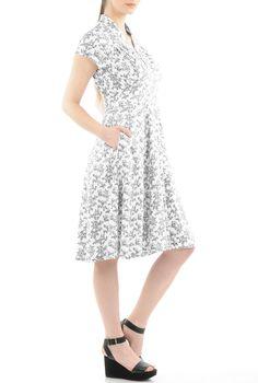 Feminine Pleated Floral Cotton Knit Dresses, Cotton Stretch Jersey Knit Print Dresses Shop women's fashion design   Women   Dresses & Special Occasion     eShakti