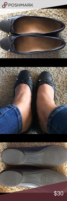 Black Clarks flats Soft leather black flats from Clarks. Super comfy. Worn quite a bit. Still in good condition and perfect for work place. It has a soft insole already inside. Clarks Shoes Flats & Loafers