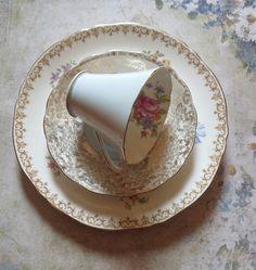 Vintage Mismatched Bone China Three Piece Dessert by MiladyLinden