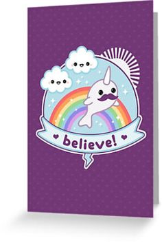 believe purple narwhal cards and postcards