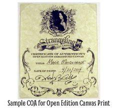 Sample COA for open edition canvas print