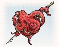 Octopus heart, I love that ! - - Octopus heart, I l . - Octopus heart, I love that ! – – Octopus heart, I love that ! Atticus, Octopus Tattoo Design, Octopus Tattoos, Dragon Tattoos, Tattoo Designs, Octopus Hearts, Octopus Octopus, Human Heart Tattoo, Geniale Tattoos