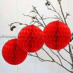 10pcs+Mixed+2Size+RED+Tissue+Paper+Honeycomb+poms+by+Craftmusou,+$24.99