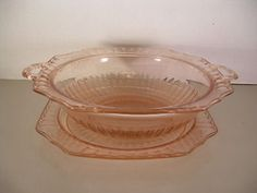 Pink Depression Glass Bowl with Handles and Plate | eBay