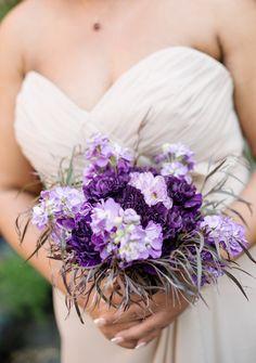 Purple wedding bouquet idea - dark + light purple flowers and greenery {MyLife Photography}