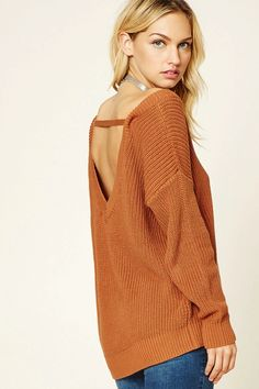 Forever 21 Contemporary - A midweight chunky ribbed knit sweater featuring a V-neckline, a V-shape back with a support strap, dropped shoulders, and long sleeves.