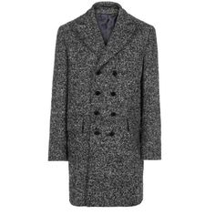 Paul Smith Coats - Black And White Bouclé Double Breasted Overcoat