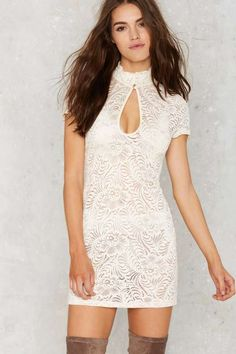 Nasty Gal Into Full Sheer Lace Dress - Ivory