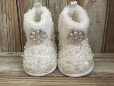 Baby Beaded Lace Christening Booties Custom Baby Beaded Lace Boots Baby All Lace Boots by LaBoutiqueBride on Etsy
