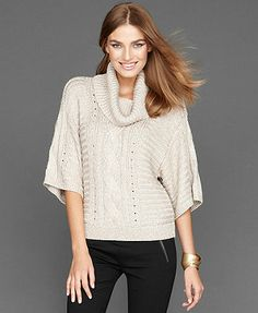 INC International Concepts Sweater, Cowl-Neck Metallic Cable-Knit