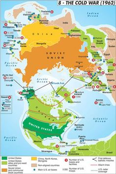 The Cold War Map 1962  I would use this to give the students an understanding of teh general geography of the cold war