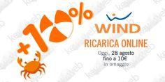 Solo per oggi 28 agosto promo ricarica online Wind +10%  #follower #daynews - https://www.keyforweb.it/solo-oggi-28-agosto-promo-ricarica-online-wind-10/