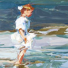 Wading at the Shore after Potthast by Sally  Shisler Oil ~  x