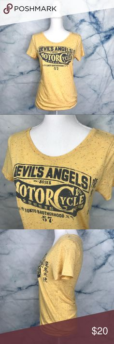 "Lucky Brand ""Devil's Angels"" Motorcycle Tee Shirt Women's lucky Brand tee size medium. Devil's angels motorcycle tee shirt. Excellent condition. Soft & stretchy. •Underarm to Underarm= 17"" •Length= 26.5"" Lucky Brand Tops Tees - Short Sleeve"
