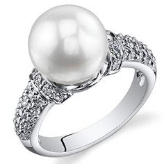 Dazzling Freshwater Cultured White Pearl Ring (8.5-9mm) Sterling Silver CZ Accent available at joyfulcrown.com
