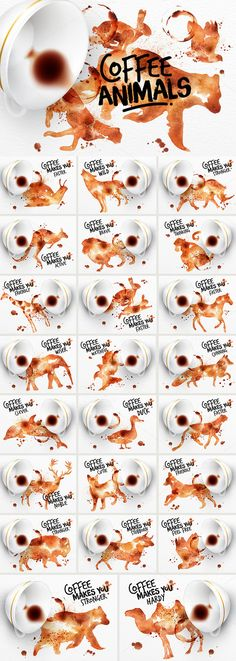 Coffee Animals Stains by Anna on Creative Market
