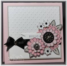 "Stamps: Flower Fest, Fundamental Phrases  Paper: Whisper White, Sahara Sand, Pretty in Pink, Pink Pirouette  Ink: Basic Grey  Accessories: Basic Black 5/8"" Satin Ribbon, 3/16"" Neutral Brads, Neutral Brads, Filigree Brads, Boho Flower Punch, Polka Dotted Embossing Folder, Petal Cone Die, Dimensionals"