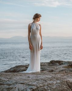Old Hollywood Glamour Wedding Dress. A sophisticated backless wedding gown, featuring a high neck silhouette, low back, and fitted skirt. Simple Wedding Gowns, Fit And Flare Wedding Dress, Country Wedding Dresses, Wedding Dresses Plus Size, Colored Wedding Dresses, Boho Wedding Dress, Unique Weddings, Backless Wedding, Lace Wedding
