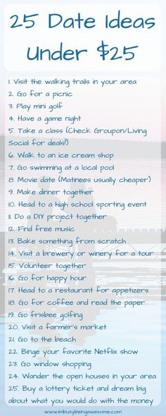 25 Date Ideas Under $25 date night, money saving, fun activities, frugal, family, cheap, budget, outside, indoors, spring, summer, winter, fall, couple, anniversary