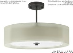 "✐Color: Beige/ Tan/ Cream ✦ Grazia 20"" 3-Light Double Drum Convertible Ceiling Fixture-- Oil Rubbed Bronze with sandstone organza outer shade/ opaque sandstone fabric inner shade by Linea di Liara ✦ Uses 3 Medium Base (E26) Bulbs- 60W Max (Not Included) ✦ http://lineadiliara.com/collections/ceiling/products/grazia-20-inch #Lighting"
