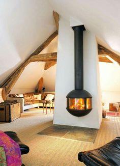 Très belle cheminée suspendue d'angle ou de coin, style moderne et