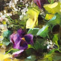 """Daily Paintworks - """"Babys Breath and Pansies"""" - Original Fine Art for Sale - © Pamela Blaies"""