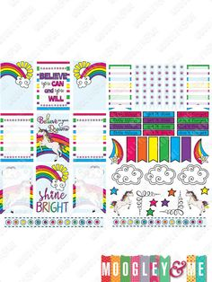 Fun, Bright Rainbows and Unicorns Planner Stickers for your Erin Condren Life Planner, Happy Planner, or any daily planner! by MoogleyandMe on Etsy
