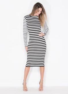 Stripe Right Ribbed Midi Sweater Dress WHITEBLACK - GoJane.com