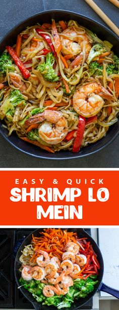 A quick and easy shrimp lo mein, the perfect lunch or dinner for the whole family. This shrimp lo mein is easy to make and tastes amazing, and it only takes 30 minutes to make. This recipe is simple and perfect for busy moms and kids will adore this recipe. The noodles are slurpy and delicious perfect for any weekday. #shrimplomein