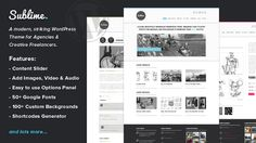 Sublime is a beautifully minimalist WordPress theme for creative agencies, and freelancers. Clean lines, striking accent colours, gorgeous iconography, and beautiful font choices. Elegant enough to make a fantastic first impression to your clients, but not overpowering, to let the most important part, your work, really shine!