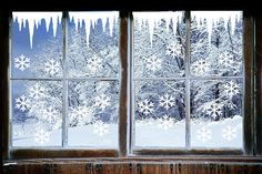 Icicles Scene Window Stickers,Christmas Icicles Snow Drift Snowflakes Holiday stickers set, snowman, Christmas windows stickers vinyl decal