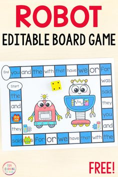 Have a blast with this editable robot board game. Add this free printable to your literacy centers or math centers during your robot theme lesson plans. Use it to teach sight words, letter identification, letter sounds, math facts and more! Math Board Games, Printable Board Games, Free Printable, Free Board Games, Abc Games, Literacy Centers, Literacy Stations, Reading Centers, Board Games