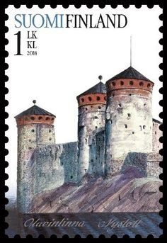 Olaf's Castle ) is a three-tower castle located in Savonlinna, Finland . Post stamp from Finland , circa 2014 . Postage Stamps, Helsinki, Rare Stamps, Cartography, Mail Art, Stamp Collecting, Lettering, Tower Castle, Poster