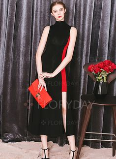 Dresses - $75.38 - Chiffon Solid Sleeveless Mid-Calf Elegant Dresses…